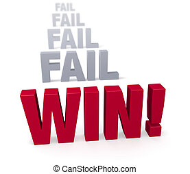 "Persist to Win! - Sharp focus on triumphant red ""WIN!"" in..."
