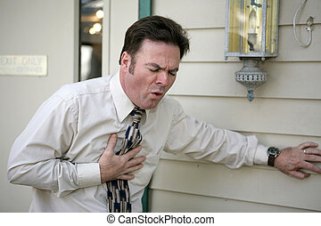Persistent Cough - A middle aged man outside his office ...