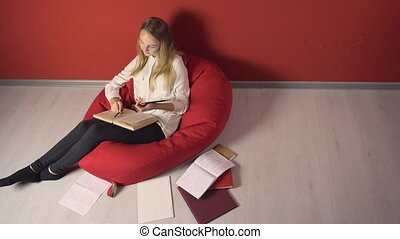 Persistent Young Student Girl Studying
