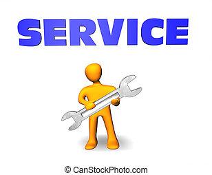 persnon, service., illustration, ser ud, værd, 3