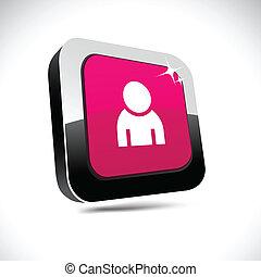 Person 3d square button.