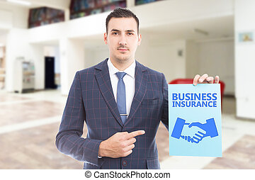 Person advertising business insurance