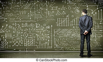 person, affär, mot, blackboard