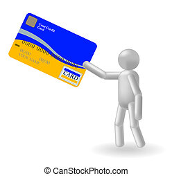 Person and credit card on a white background