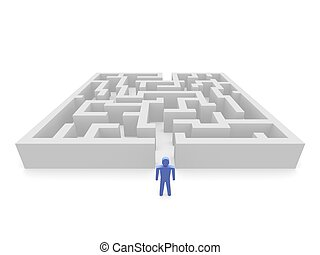 Person and labyrinth - Person in front of labyrinth. 3d...