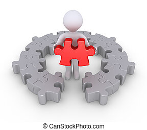 Person and last puzzle piece