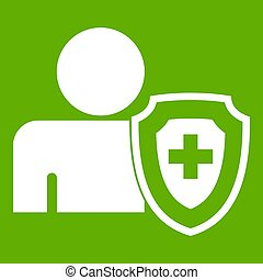 Person and medical cross protection shield icon green