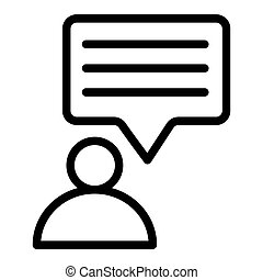 Person and speech bubble line icon. Message and user vector illustration isolated on white. Dialogue and human outline style design, designed for web and app. Eps 10.