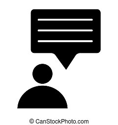 Person and speech bubble solid icon. Message and user vector illustration isolated on white. Dialogue and human glyph style design, designed for web and app. Eps 10.