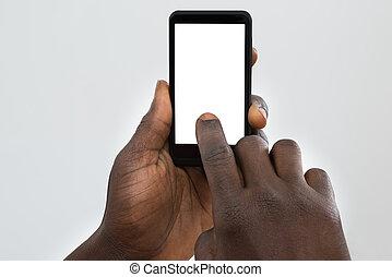person, användande, mobiltelefon