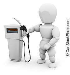 Person at fuel pump - 3D render of a person at a fuel pump