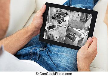 person, aufpassen, nachrichten, auf, digital tablette