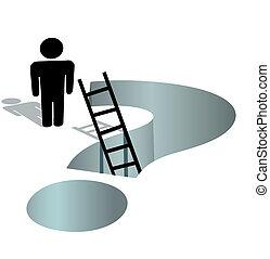 person, bedürfnisse, hilfe, zu, fragen, tief, fragezeichen,...