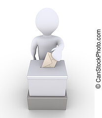 Person before a ballot box is voting - 3d person is...