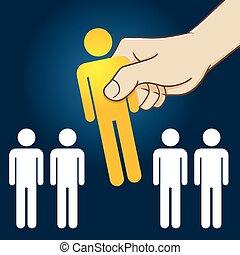 person, beklæde, picking, bedst, hånd