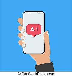 person, besitz, smartphone, modern, hand, design, stil, neu...