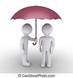 person, beskyddande, med, paraply, en annan, en