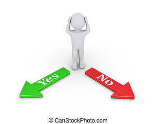 Person between Yes and No - Anxious person is standing...