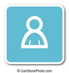 person blue square internet flat design icon