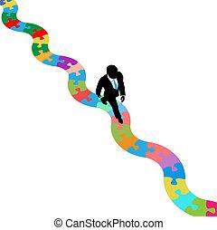 person branche, gåturer, på, puzzling, sti, til, løsning
