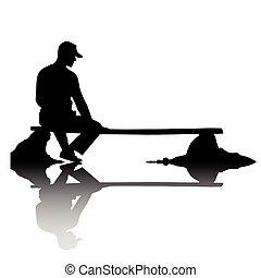 person, breakage, enlige, siddende