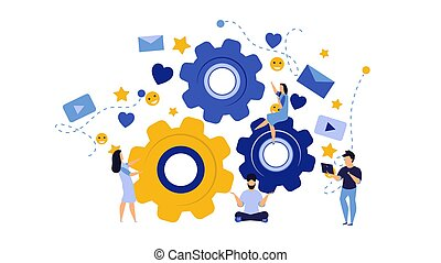 Person business team work vector concept illustration with cogwheel design. Businessman group success office icon background. Company partnership cooperation character. Creative development job