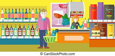Person Buys Alcoholic Drinks in Elite Wine Shop.