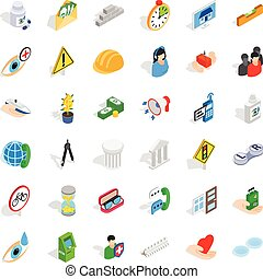 Person care icons set, isometric style
