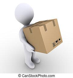 Person carries carton box