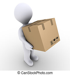 Person carries carton box - 3d person is carrying a sealed...