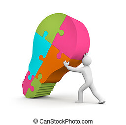 Person carry lightbulb of the puzzle - Business concept....