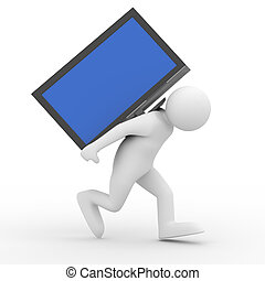 person carry  TV on back. Isolated 3D image