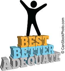 Person celebrate best self improvement