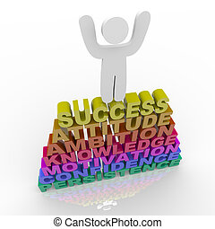 A person stands atop words symbolizing success, attitude, ambition, knowledge, motivation, confidence and persistence
