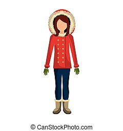 person character with winter clothes