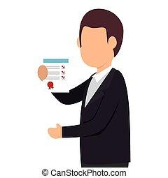 person, checklista, ikon