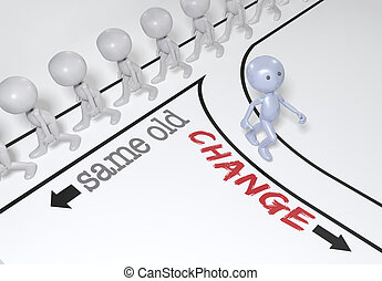 One person makes a change to a new different direction from crowd of people