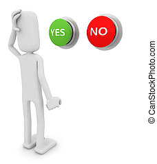 Person choosing between yes or no