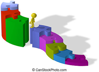 Person climb up puzzle pieces to find missing solution -...