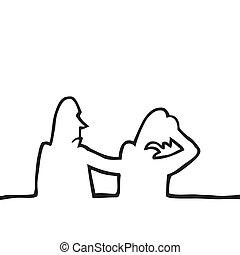 Black line art illustration of two sad people.