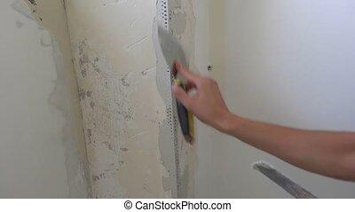 person corner aluminum finished in plaster