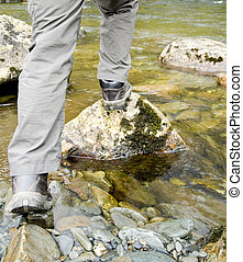 stepping stones - person crossing river on stepping stones