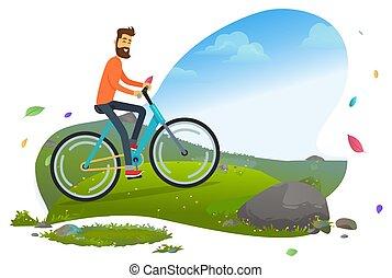 Person Cycling by Mountain, Man Traveler Vector
