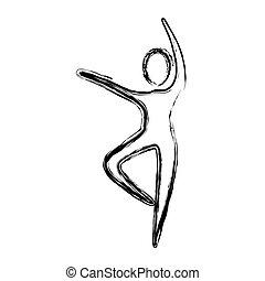 person, dansande, kontur, ikon
