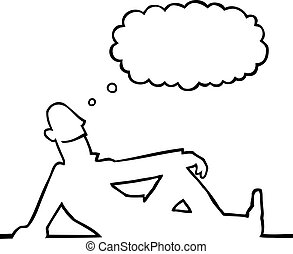 Black line art illustration of a person daydreaming.