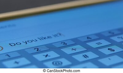 Person deletes a message on touch screen mobile phone, close up