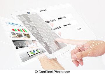 person, digital tablet, användande