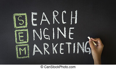 Person drawing a Search Engine Marketing Illustration with chalk on a blackboard.
