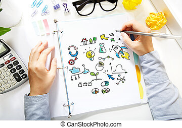 Person drawing creativity concept