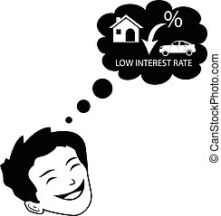 Person dreaming for decline in interest rates.